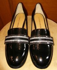 Badgley Mischka Black Patent Leather Loafers Calf Hair Rhinestones Sz 6