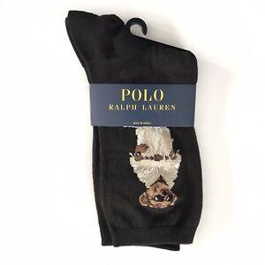 Polo Ralph Lauren Women's Polo Bear Trouser Socks Black Safari Polo Bear, Crew