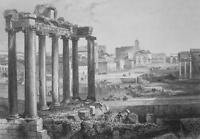 ITALY Rome Forum Romanum & Colosseum  - 1855 Antique Print Engraving