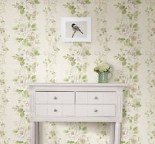 Alexandra Floral white tan Scroll Wallpaper Damask Flower Designer vintage
