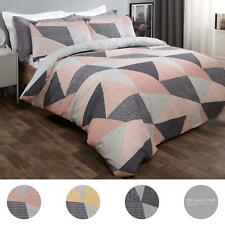 Dreamscene Stripe Geometric Duvet Cover with Pillowcase Bedding Set Blush Ochre