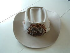Vintage Eddy Bros. B Bar B ranch cowboy hat wool beige shade with feathers