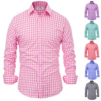 Office Fashion Grid Casual Sleeve Men's Shirts Fit Luxury Long Mens Tops Slim