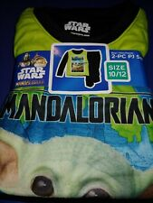 Star Wars MANDALORIAN Boys Pajamas sz 10/12 Flannel Pants Long Sleeves Kids Set