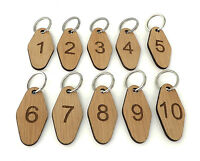 Sets of numbered wood key tags, fobs, engraved hotel key ring, keyring, oak.