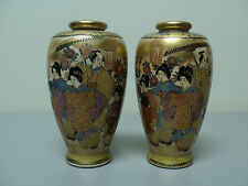 "Pair Antique Japanese Satsuma 5"" Vases Decorated W/ Women & Villagers, Signed"