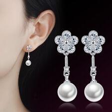 Real 925 Silver Zircon Flower Pearl Earrings Ear Stud Women Retro Jewelry