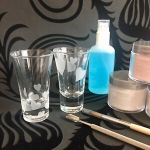 Glass Dappen Dish Set Of 2 Acrylic Liquid Nail Art Monomer Personalised Hearts