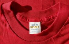 5050 Red Pocket Blank 50/50 Made in USA Men's Sz XL T-Shirt Thin & Soft Vtg 80's