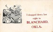 """I Dropped Down Last Night In"" Blanchard Oklahoma~Man Lands Crockery Store~1909"