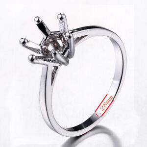 Round 7.5mm Prong Setting Semi Mounts Sterling Silver 925 Eternal Solitaire Ring