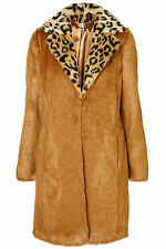 TOPSHOP Premium animal collar boyfriend faux fur coat UK 6 in Ginger