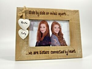 Side By Side Or Miles Apart   Sister Gift   Personalised Photo Driftwood Frame