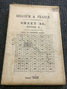 Genuine 1916 WWI Ordnance Survey  Map of Belgium & France