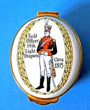 Crummles Enamel Trinket Box: Field Officer 14th Light Dragoons Circa 1815 w/ Box