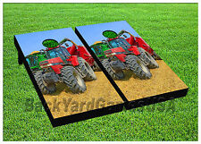 CORNHOLE BEANBAG TOSS GAME w Bags Game Board Farmer Tracker Farm Truck Set 725