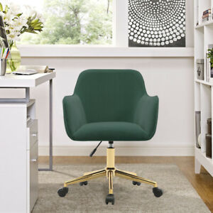Upholstered Ergonomic Office Chair Adjustable Home Study 360° Swivel Desk Chairs