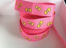 Yard Rosa Brillante Lunares amarillos Arcos De Cinta de Grogrén Chicas Novedad #281