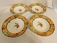 RL L2 - 222 Fifth Fine China Tuscany Rose Soup / Cereal Bowls Lot of 4