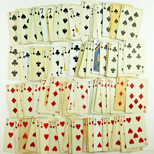 SEVENs [7] Playing Cards, 100 Cards - Junk Journal Supplies, Ephemera, Collage