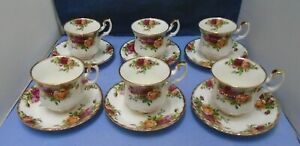 Old Country Roses Royal Albert Bone China Set, Six Small Coffee Cups and Saucers