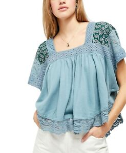 Free People Prairie Days Blouse Top Embroidered Crochet Lace Blue S New 213219