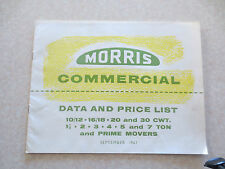 Original 1961 Morris Commercial trucks - Data and price list booklet