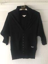 Diesel Women's Black Crop Sweater Cardigan Shrug 3/4 Sleeve  Size S