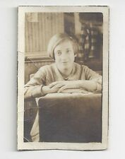 Old School Photo Young Girl Identified as Beatrice Kirkhuff Sitting at Desk