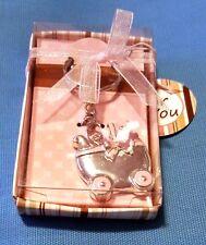 "Cute 1.5"" Baby Stroller Style Metal Keychain Key Ring"