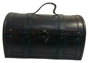 Wood & Faux Leather Straps Trunk Treasure Chest Box Hinged Lid & Brass Accents