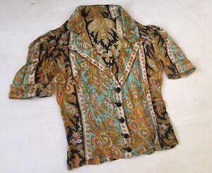 Vtg 1940s 50s Womens Shirt Blouse Paisley Silk
