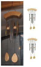 Campana a vento 5 canne tubi in metallo pendente 2 palline artigianato orientale