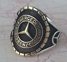 Mercedes Benz Logo Ring Solide 925 K Sterling Silber  Mens Ring