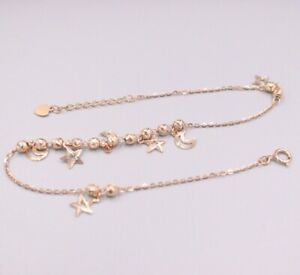 Pure Au750 18Kt Rose Gold Chain Women O Link Moon Star Bead Anklets 2.5-2.9g