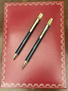 Cartier Ballpoint Pen Mechanical Pencil Black With Box Case And Holder