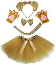 Halloween Lion Headband Bow Tail Paw Skirt 5p Girl Kid School Party Costume