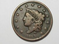 1837 US Coronet Head Large Cent Coin (Small Letters).  #55