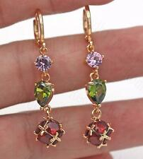 "18K Gold Filled -1.8"" Earrings Waterdrop Emerald Pink Quartz Ruby Beads Lady DS"