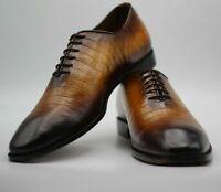 Hommes à lacets One-Piece en crocodile à la main en cuir Chaussures