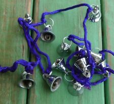 """Lot of 12 Chrome Bells On a 40"""" Hanging Cord Wind Chime Diy New"""