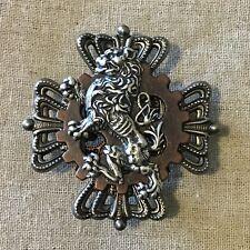 Steampunk brooch- Airship Medal/ Badge- Lion, Gear, 4 Crowns That Make A Cross