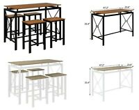 Dining Table And Chairs 5piece set Counter Height Table Home Kitchen Dining Room