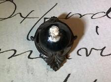 Antique Edwardian Mourning Gutta Persha Cameo Brooch