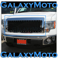 09-14 Ford F150 Chrome Front Hood Rivet Studded+Black Mesh Grille+Complete Shell