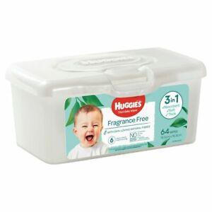 Huggies Baby Wipes - Fragrance Free - With Storage Tub - 64 Pack