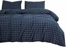Wake In Cloud - Navy Grid Comforter Set, Navy Blue with White Grid Geometric Pat