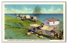 Drying Nets, Fishing Village North Shore Lake Superior MN 1930's Postcard K2