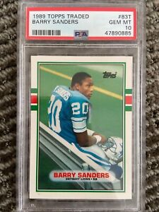 1989 Topps Traded Barry Sanders #83T Rookie Card PSA 10 GEM MINT