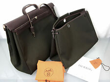 NUOVO HERMES herbag 50 cm 2 in 1 canvas pelle a tracolla weeckender VERDE MARRONE